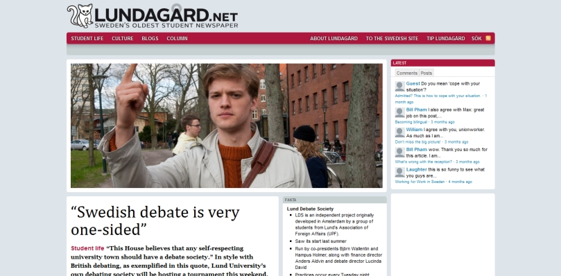 """Swedish debate is very one-sided"" « Lundagård - 2013-10-09_22.52.34"